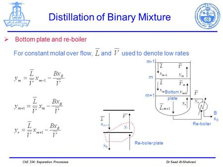 Dr Saad Al-ShahraniChE 334: Separation Processes Distillation of Binary Mixture  Bottom plate and re-boiler For constant molal over flow, and used to.