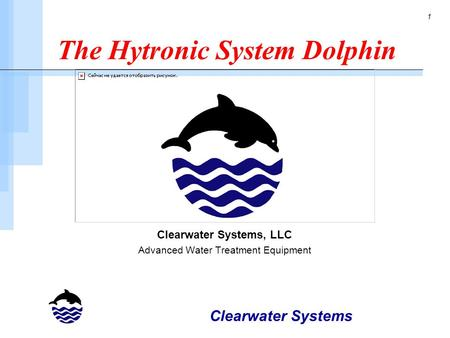 Clearwater Systems 1 The Hytronic System Dolphin Clearwater Systems, LLC Advanced Water Treatment Equipment.