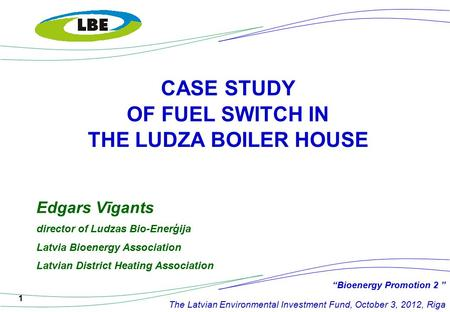 1 CASE STUDY OF FUEL SWITCH IN THE LUDZA BOILER HOUSE Edgars Vīgants director of Ludzas Bio-Enerģija Latvia Bioenergy Association Latvian District Heating.