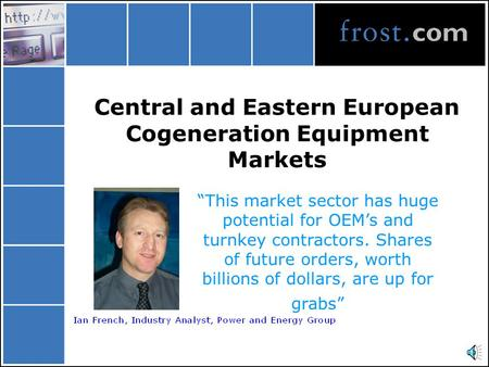 "Central and Eastern European Cogeneration Equipment Markets ""This market sector has huge potential for OEM's and turnkey contractors. Shares of future."