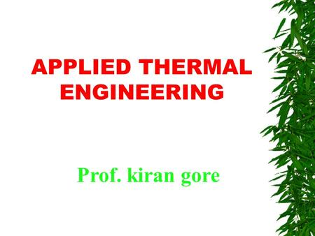 APPLIED THERMAL ENGINEERING