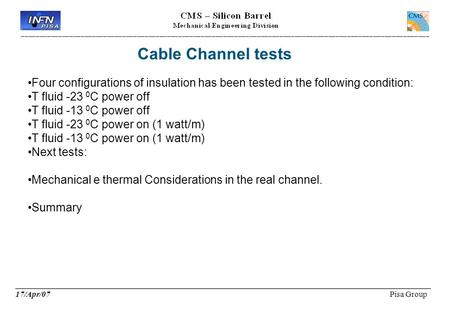Cable Channel tests ____________________________________________________________ 17/Apr/07 Pisa Group Four configurations of insulation has been tested.