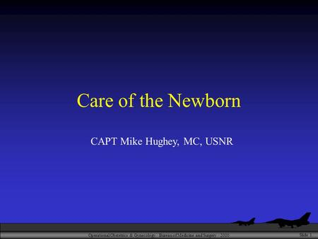 Operational Obstetrics & Gynecology · Bureau of Medicine and Surgery · 2000 Slide 1 Care of the Newborn CAPT Mike Hughey, MC, USNR.