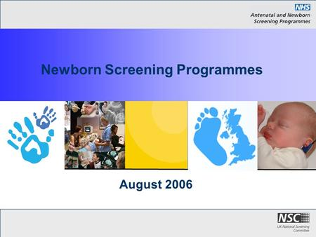 August 2006 Newborn Screening Programmes. Introduction These slides bring you up to date with the three NSC Newborn Screening Programmes The Blood Spot.