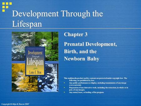 Copyright © Allyn & Bacon 2007 Development Through the Lifespan Chapter 3 Prenatal Development, Birth, and the Newborn Baby This multimedia product and.