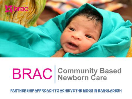 Community Based Newborn Care BRAC. PRESENTATION OUTLINE Maternal and Child Health Scenario in Bangladesh BRAC MNCH Programme Service Delivery Service.