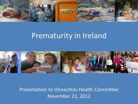 Presentation to Oireachtas Health Committee November 22, 2012 Prematurity in Ireland.