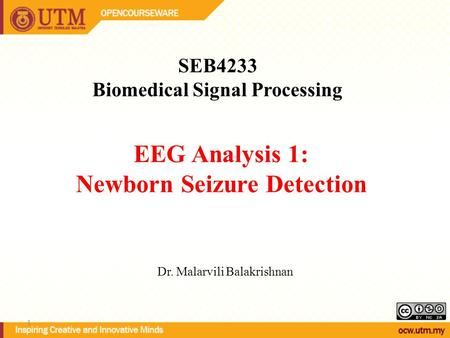 EEG Analysis 1: Newborn Seizure Detection SEB4233 Biomedical Signal Processing Dr. Malarvili Balakrishnan 1.