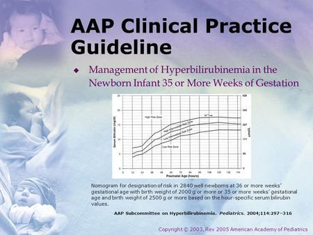AAP Clinical Practice Guideline AAP Subcommittee on Hyperbilirubinemia. Pediatrics. 2004;114:297–316 Copyright © 2003, Rev 2005 American Academy of Pediatrics.