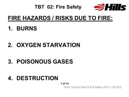 FIRE HAZARDS / RISKS DUE TO FIRE: BURNS OXYGEN STARVATION