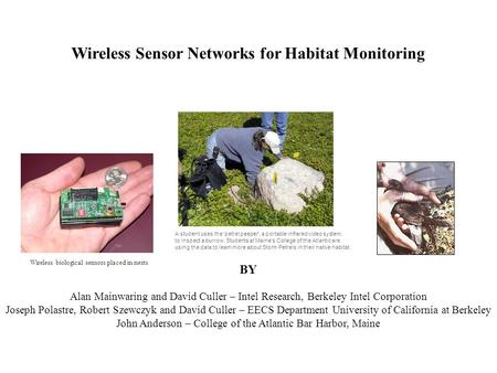 Wireless Sensor Networks for Habitat Monitoring BY Alan Mainwaring and David Culler – Intel Research, Berkeley Intel Corporation Joseph Polastre, Robert.