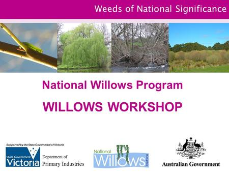 Weeds of National Significance National Willows Program WILLOWS WORKSHOP Supported by the State Government of Victoria.