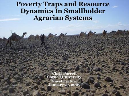 Poverty Traps and Resource Dynamics In Smallholder Agrarian Systems Chris Barrett Cornell University Guest Lecture January 27, 2009.