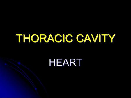 THORACIC CAVITY HEART.