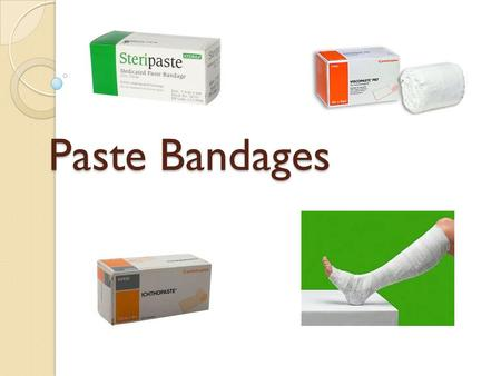 Paste Bandages. Indications Management of leg ulcers. Some are also indicated for use in the management of chronic eczema / dermatitis. Seen used to protect.