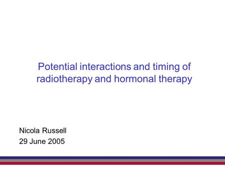 Potential interactions and timing of radiotherapy and hormonal therapy