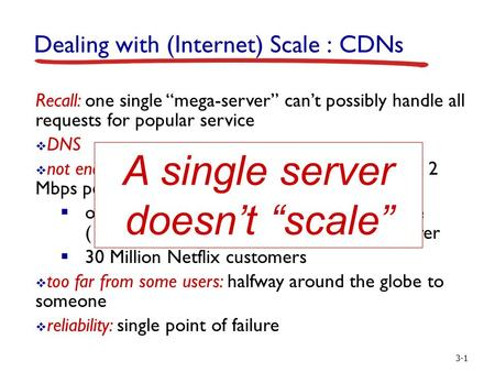 "3-1 Dealing with (Internet) Scale : CDNs Recall: one single ""mega-server"" can't possibly handle all requests for popular service  DNS  not enough bandwidth:"