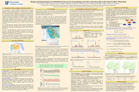 Design and demonstration of a distributed sensor array for predicting water flow and nitrate flux in the Santa Fe River Watershed W. Graham 1, M. Cohen.