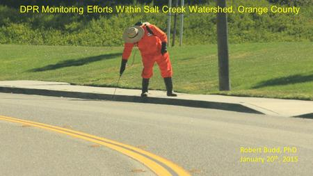 DPR Monitoring Efforts Within Salt Creek Watershed, Orange County Robert Budd, PhD January 20 th, 2015.