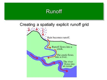 RunoffRunoff Creating a spatially explicit runoff grid.