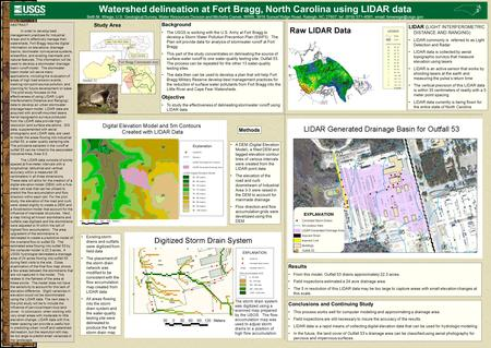 Fort Bragg Cantonment Area Background The USGS is working with the U.S. Army at Fort Bragg to develop a Storm Water Pollution Prevention Plan (SWP3). The.