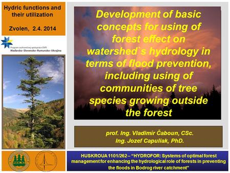 "HUSKROUA 1101/262 – ""HYDROFOR: Systems of optimal forest management for enhancing the hydrological role of forests in preventing the floods in Bodrog river."