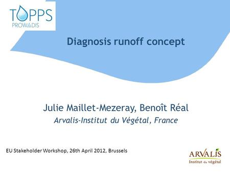Diagnosis runoff concept Julie Maillet-Mezeray, Benoît Réal Arvalis-Institut du Végétal, France EU Stakeholder Workshop, 26th April 2012, Brussels.