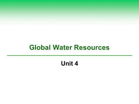 Global Water Resources