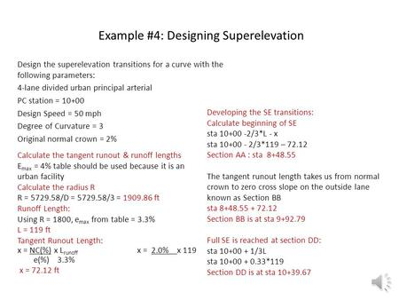 Example #4: Designing Superelevation