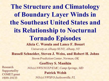 The Structure and Climatology of Boundary Layer Winds in the Southeast United States and its Relationship to Nocturnal Tornado Episodes Alicia C. Wasula.