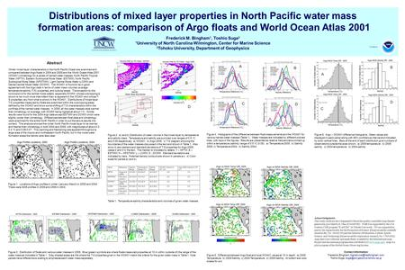 Distributions of mixed layer properties in North Pacific water mass formation areas: comparison of Argo floats and World Ocean Atlas 2001 Frederick M.