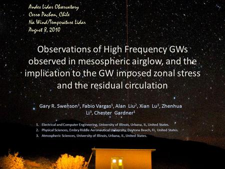 Observations of High Frequency GWs observed in mesospheric airglow, and the implication to the GW imposed zonal stress and the residual circulation Gary.