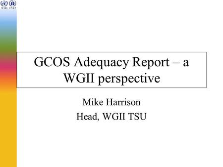 GCOS Adequacy Report – a WGII perspective Mike Harrison Head, WGII TSU.