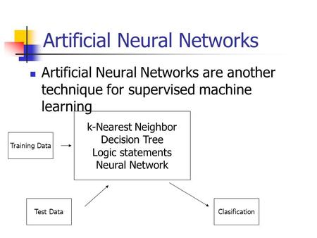 Artificial Neural Networks Artificial Neural Networks are another technique for supervised machine learning k-Nearest Neighbor Decision Tree Logic statements.