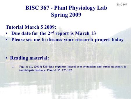 BISC 367 Plant Biology Fall 2006 BISC 367 - Plant Physiology Lab Spring 2009 Tutorial March 5 2009: Due date for the 2 nd report is March 13 Please see.