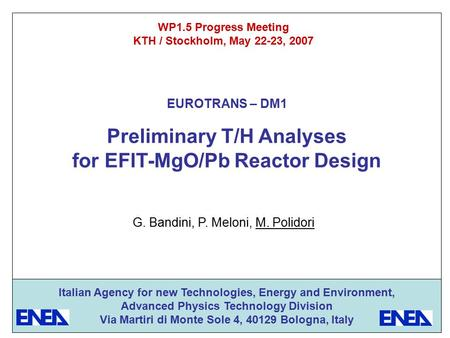 Preliminary T/H Analyses for EFIT-MgO/Pb Reactor Design WP1.5 Progress Meeting KTH / Stockholm, May 22-23, 2007 G. Bandini, P. Meloni, M. Polidori Italian.