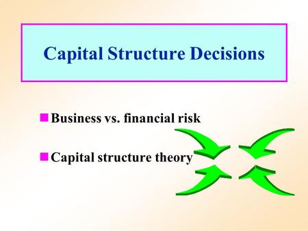 capital structure decisions Start studying ch 16 - capital structure decisions: the basics learn vocabulary, terms, and more with flashcards, games, and other study tools.