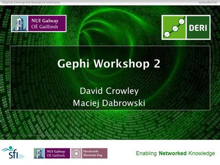  Copyright 2011 Digital Enterprise Research Institute. All rights reserved. Digital Enterprise Research Institute www.deri.ie Enabling Networked Knowledge.
