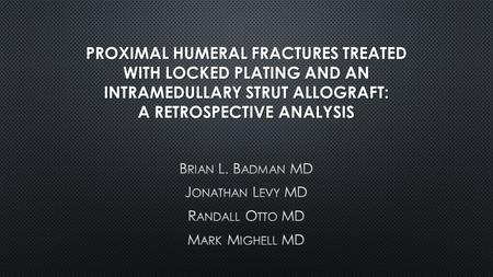 proximal humerus fracture thesis