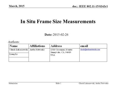 Submission doc.: IEEE 802.11-15/0343r1 In Situ Frame Size Measurements March, 2015 Chuck Lukaszewski, Aruba NetworksSlide 1 Date: 2015-02-26 Authors: