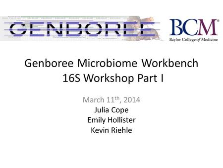 Genboree Microbiome Workbench 16S Workshop Part I March 11 th, 2014 Julia Cope Emily Hollister Kevin Riehle.