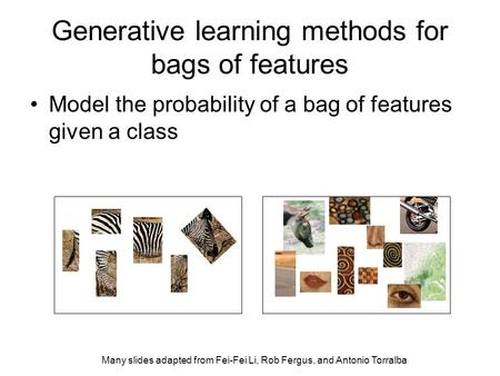 Generative learning methods for bags of features