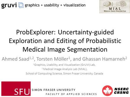 ProbExplorer: Uncertainty-guided Exploration and Editing of Probabilistic Medical Image Segmentation Ahmed Saad 1,2, Torsten Möller 1, and Ghassan Hamarneh.