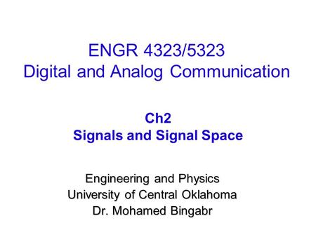 Signals and Signal Space