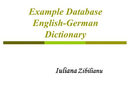Example Database English-German Dictionary