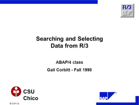 SAP AG CSU Chico Searching and Selecting Data from R/3 ABAP/4 class Gail Corbitt - Fall 1998.