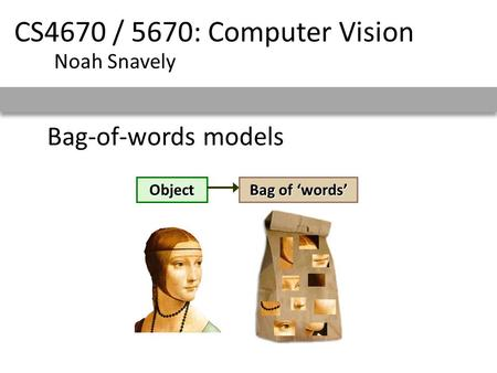 CS4670 / 5670: Computer Vision Bag-of-words models Noah Snavely Object