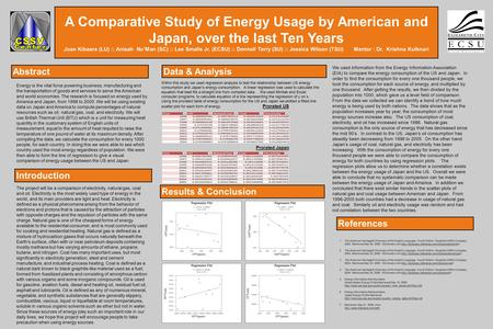 LOGO A Comparative Study of Energy Usage by American and Japan, over the last Ten Years Joan Kibaara (LU) :: Anisah Nu'Man (SC) :: Lee Smalls Jr. (ECSU)