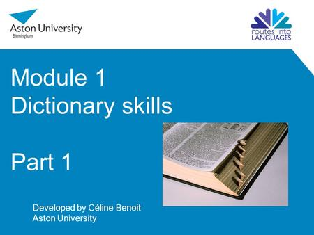 Module 1 Dictionary skills Part 1