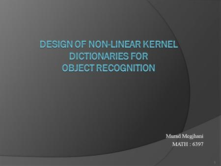 Design of Non-Linear Kernel Dictionaries for Object Recognition